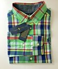 BOYS RALPH LAUREN POLO  PLAID COTTON  NAVY SHIRT.