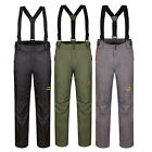Men New Soft Shell Fleeced Suspenders Pants Removable Fleece Liner Hiking Sports