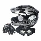 DOT Youth Helmet Black Silver Skull for Dirt Bike ATV Motocross gloves Goggles