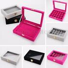Velvet Glass Jewelry Ring Organizer Tray Holder Earring Storage Case Display Box