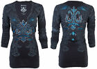 Xtreme Couture AFFLICTION Women LS T-Shirt SANDSTONE Tattoo Biker Sinful $58 NWT