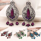 1 Pair Women's Carved Hollow Gemstone Droplets Dangle Charm Gift Hook Earrings