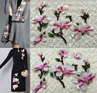 1SET Embroidered Pink Magnolia Flower Sew Appliques Trim Dress Two Style WT35