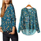 Autumn Fashion Women Casual Floral Print Long Sleeve V-neck Shirt Blouse Tops