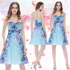 Women's Long Floral Blue Bridesmaid Party Cocktail Formal Evening Dress 08945