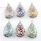 Contain Colorful Beads Hollow Out Flower Dangle Waterdrop Pendant Fit Necklace