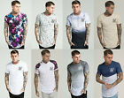 Mens Sik Silk Short Sleeve T Shirt Designer Longer Drop Curved Hem Stylish Tee
