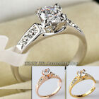 A1-R005 Women's Engagement Wedding Ring 18KGP Rhinestone Crystal Size 5.5-11.5