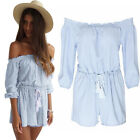 Awesome Blue Womens Casual Off-Shouler Playsuit Party Clubwear Jumpsuit Romper