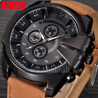 Luxury Men's Sport Watch Analog Steel Case Quartz Dial Leather Wrist Watch Gift