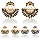 Fashion Women Vintage Retro Gold Plated Geometry Crystal Hollow Stud Earrings