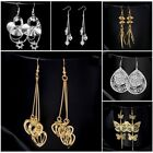Fashion Gold Plated Hollow Filigree Heart Fringe Ear Drop Hook Dangle Earrings
