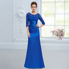 Elegant 3/4 Sleeve Lace Women's Long Blue Evening Dresses 09882 AU Size 10