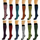 Womens Ladies Girls Stripey Knee High Thick Striped Socks Lot New