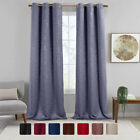 Virginia Blackout Leafy Weave Curtains Modern Grommets Set of  2 Curtain Panels