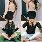 Women's Hot Solid Lace V-neck Sweaters Casual Kit Pullover Prothorax Hollow out