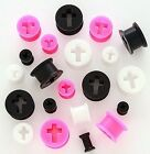 1 Pair Cross Silicone Tunnels Flexible Ear Plugs Gauges Soft Pick Size & Color!