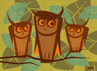 3 Wise Owls by Now Modern Retro Birds in Tree 1960s Home Decor Canvas Art Print