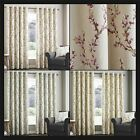 Heath Lined Eyelet Curtains Floral Flower Blossoms Ready Made Pair Ring Top