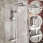 Twin Head Square Exposed Bar Thermostatic Shower Mixer Bath Chrome Valve Kit 131