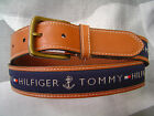 NEW TOMMY HILFIGER MEN'S PREMIUM LEATHER BELT RIBBON INLAY NAVY BLUE