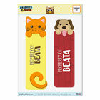 Set of 2 Glossy Laminated Cat and Dog Bookmarks - Names Female Ba-Be