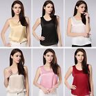 Womens 19 Momme 100% Pure Silk Singlet Tank Tops Blouse Vest Shirts Size 6-30