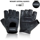 Full  Leather Weight Lifting GYM Leather Fitness Gloves Work Out Fitness