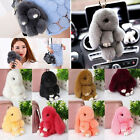 Bunny Rex Rabbit Fur Car Handbag Keychain Pom Doll Ball Key Chain Ring Pendant