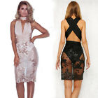 Sexy Women Deep V Neck Bandage Sequins Lace  Party Club Wedding Formal  Dress