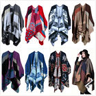 Women Winter Knitted Cashmere Plaid Wrap Shawl Poncho Cape Cardigan Sweater Coat