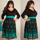 2016 New Western Style PLUS SIZE Mosaic Printing Dress Black Hot Sale best