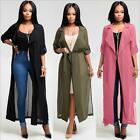 Women Kimono Jacket Chiffon Cardigan Long Top Blouse Beach Cover Up Dress 3color