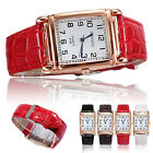 Men Women Leather Band Casual Watches Square Dial Quartz Analog Wrist Watch