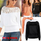 UK Fashion Autumn Womens Loose Casual Long Sleeve Lace Shirt Blouse Ladies Tops