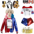 Harley Quinn Cosplay Costume Pudding CHOKER SHIRT JACKET Halloween Monster WIG