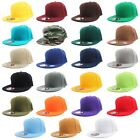 Внешний вид - Plain Solid Flat Bill Visor Fitted Baseball Caps Snapback Size Colors Basic Hats