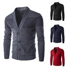 Mens Casual Cardigan Sweater Slim Knit Jacket Buttons Sweaters Outwear Overcoat