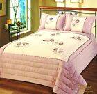 Pink Floral Luxury Bedspread Embellished Quilted Comforter Single Double Size