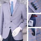Adaptor Clothing Mod 60's Retro Ivy League 3 Button Check Sports Jacket Sky Blue