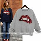 Sequin Bling Lip Long Sleeve Brushed Pullover Shirt Crewneck Sweatshirt Jumper