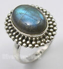 925 Solid Silver BLUE FIRE LABRADORITE ANTIQUE STYLE Ring Any Size 5.7 Grams NEW