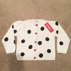 New Gymboree Black White Polka Dot Holiday Panda Cardigan Sweater size 3T 4T