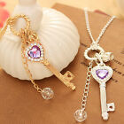 New Sale Ladies Gold / Silver Love Heart Key Long Chain Necklace Hanging Hot