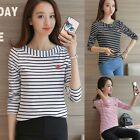 New  Women Autumn Long Sleeve Striped T-shirt Casual Bottoming Tee Tops