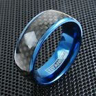 8mm Blue Titanium Men's Ring Black Carbon Fiber Wedding Band Jewelry