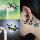 2PC Womens Punk Black Cool Spider Silicone Animal Ear Stud Earrings Jewelry Gift