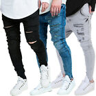 Mens Sik Silk Skinny Fit Designer Stretchable Denim Ripped Distress Jeans Pants