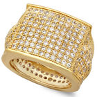 Gold Plated Fully Iced Out Square Top Ring Micro Pave CZ Stones All Around Band