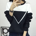 2016 Winter Spell Color Patchwork Hoodies Women V Pattern Pullover Sweatshirt